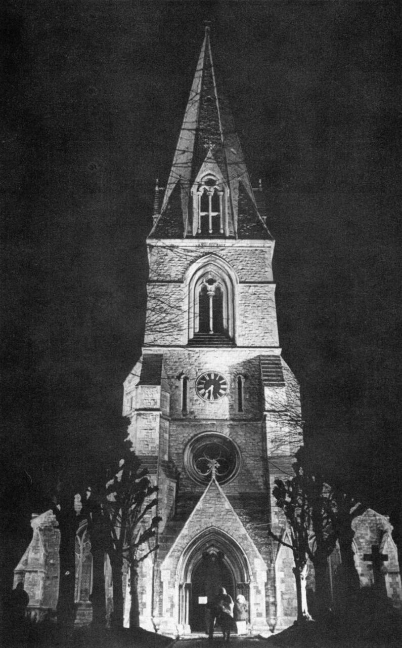 Church Road, Christ Church, floodlit, 1968